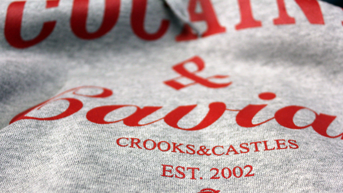 Crooks & Castles Cocaine & Caviar sweatshirt heather grey red