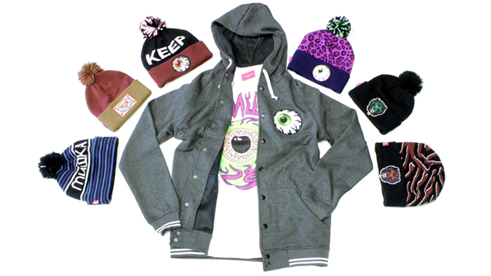 Mishka intage varsity hoodie, death adder beanie, keep watch safari beani,