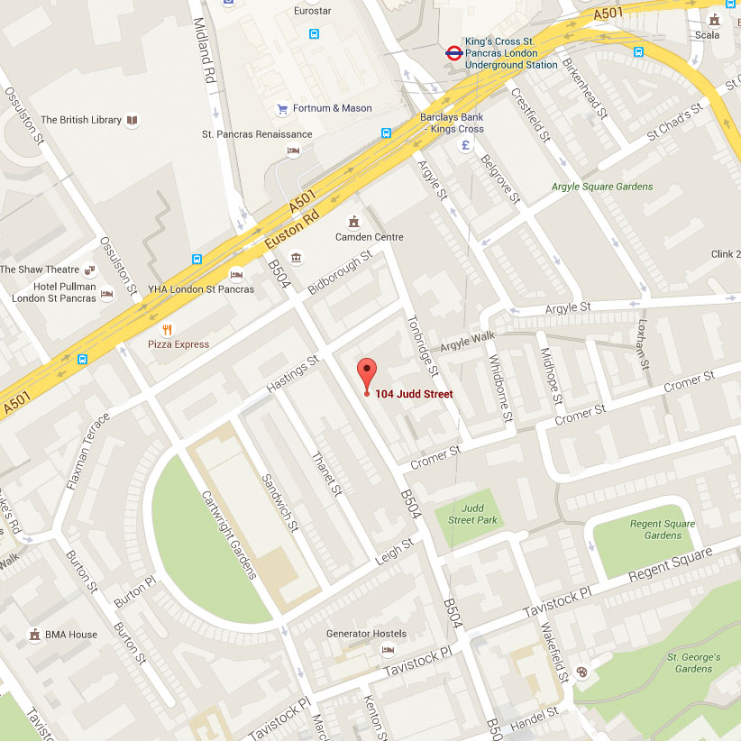 Map directions for Everythinghiphop.com 104 Judd Street London