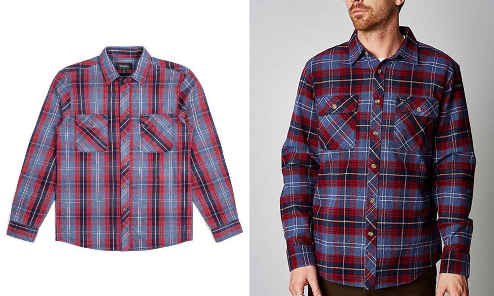 Brixton Bowery Flannel Shirt Navy Plaid