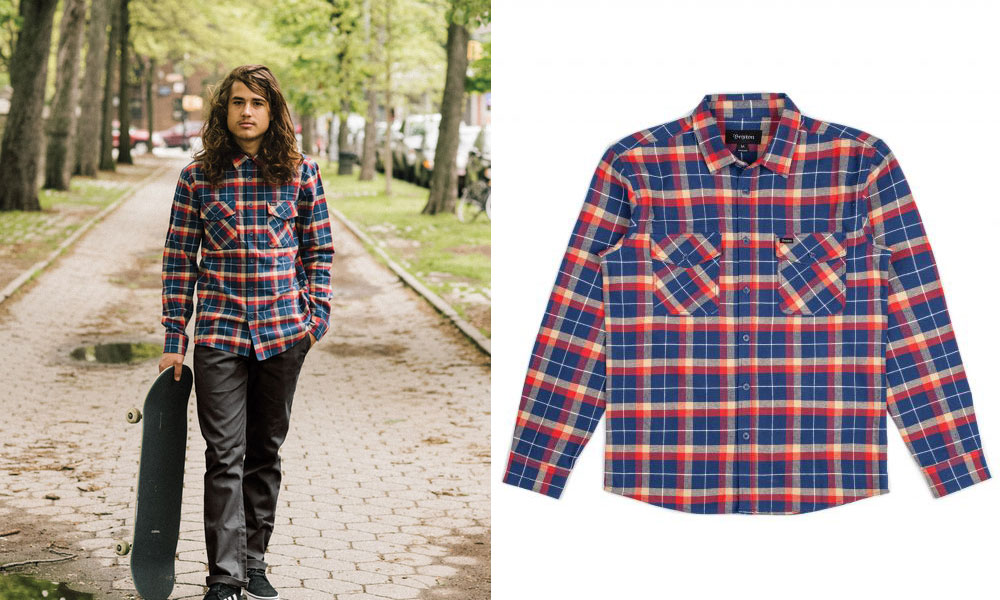 Brixton Grady Flannel Shirt Deep Blue