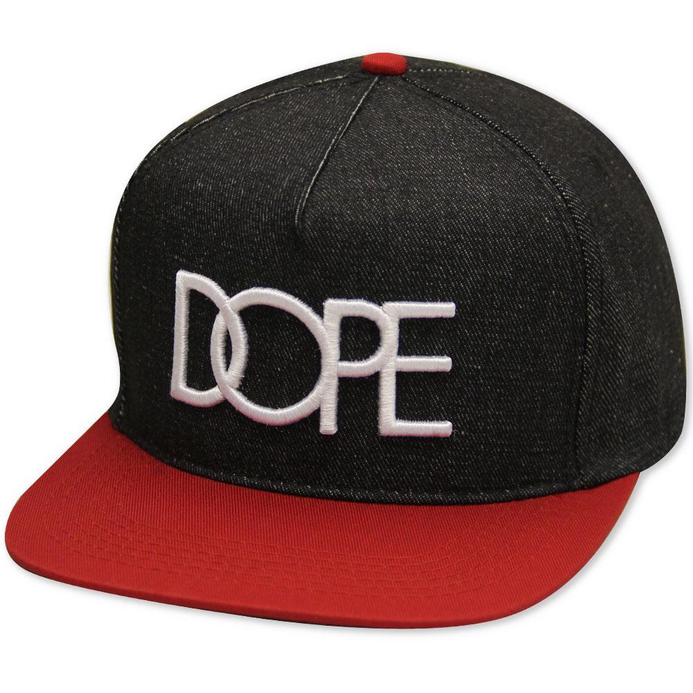 Dope Couture Denim Logo Snapback Black Red