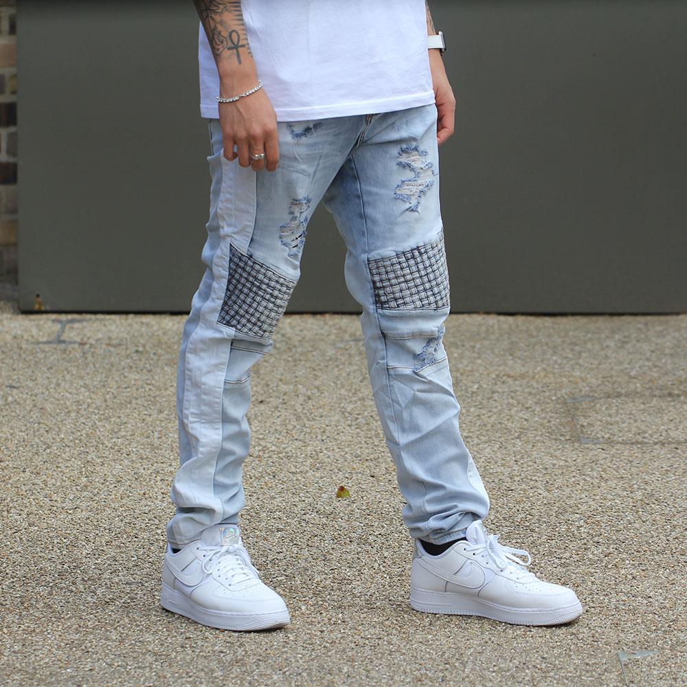 Embellish Bolt Turkish Biker Denim Jeans White