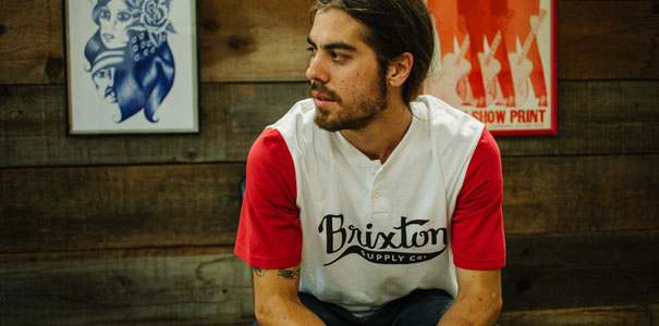 Brixton gomez henley t-shirt in white and red