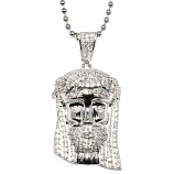 Silver Mini Jesus Piece with Crystal Detail, 30 inch ball chain, High Quality