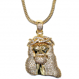 18k Gold Plated 1.5 inch CZ Mini Jesus Piece Pendant with 32 inch Franco Chain