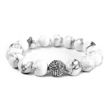 White Howlite & Crystal Bracelet 12mm beads