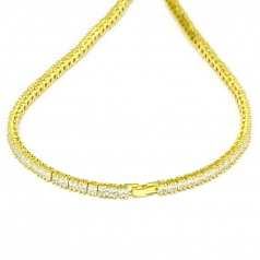 Tennis Necklace 18k Gold plated CZ Square Cut 30 inches x 4mm