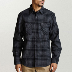 Brixton Bowery Flannel L/S Shirt Black Heather
