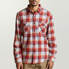 Brixton Bowery Flannel L/S Shirt Red Grey
