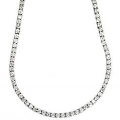 Tennis Necklace Platinum Plated CZ Round Cut 4mm