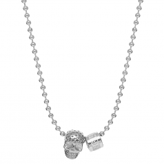 Northskull Silver Perforated Skull Pendant With Logo Wheel and Ball Chain Necklace