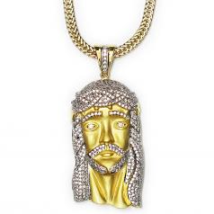 Matte Gold Plated XL Jesus Pendant CZ 2 Inches