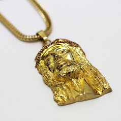 18k Gold Plated Jesus Pendant with Red CZ