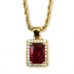 18k Gold Plated CZ Framed Ruby Pendant With 4mm Rope Chain 24 Inches Long