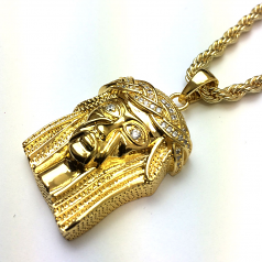 18k Gold Plated Mini Piece Jesus Pendant with 4mm Rope Chain 24 Inches Long