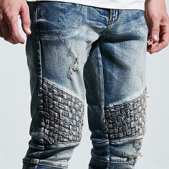 Embellish NYC Turkish Biker Denim Jeans Blue
