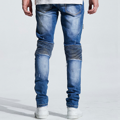 Embellish NYC Mackenzie Ripped Denim Jeans Washed Blue