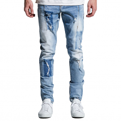 Embellish NYC Paul Denim Jeans Light Blue Patch
