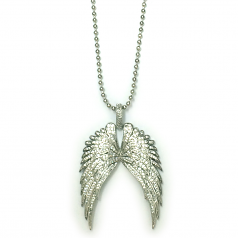Angel Wings Pendant Encrusted with Cubic Zirconia and 30 Inch Ball Chain