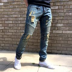 Embellish NYC Lincoln Biker Denim Stone Wash Blue Biker Jeans