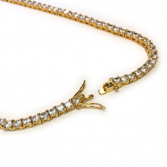 Tennis Necklace 18k Gold plated CZ Round Cut 30 inches x 4mm