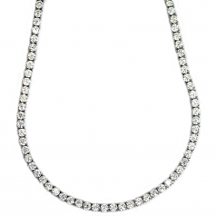 Tennis Necklace Platinum Plated CZ Round Cut 30 inches x 4mm