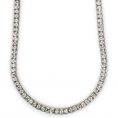 Tennis Necklace Platinum Plated CZ Square Cut 30 inches x 4mm