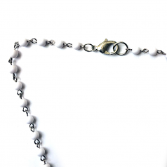 White Onyx Rosary Necklace With Double Crucifix