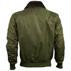 Top Gun Official B 15 Mens Flight Bomber Jacket with Patches Olive