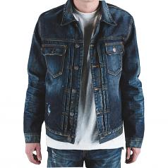 Embellish Calico Denim Jacket in Indigo