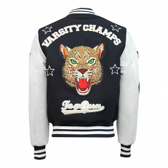 Top Gun Leopard Wool PU Bomber Jacket Navy