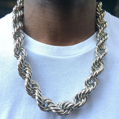 Silver Plated Jumbo Hip Hop Rope Chain 20mm x 30 inches long