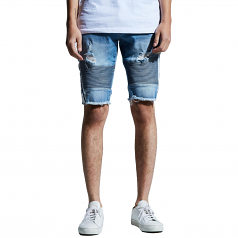 Embellish Bolt Biker Shorts Blue White