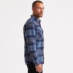 Brixton Bowery Flannel Long Sleeve Shirt Navy Carolina Blue