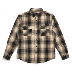 Brixton Bowery Flannel Long Sleeve Shirt Black Bone