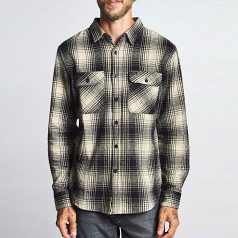 Brixton Bowery Flannel Long Sleeve Shirt Blackbone
