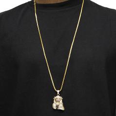 18k Gold Plated 1.5 inch CZ Mini Jesus Piece with 32 inch Franco Chain