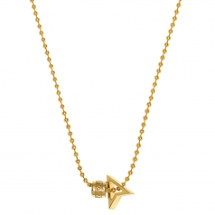 NORTHSKULL GOLD NORTH PENDANT W LOGO WHEEL + BALL NECKLACE MADE WITH 18KT. GOLD