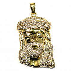 18k Gold Plated Jesus Pendant with White CZ