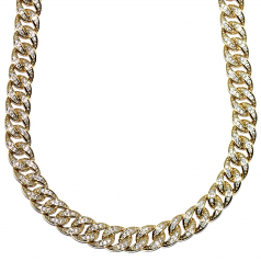 CZ Link Curb Chain Gold Plated - 10mm x 30 Inches