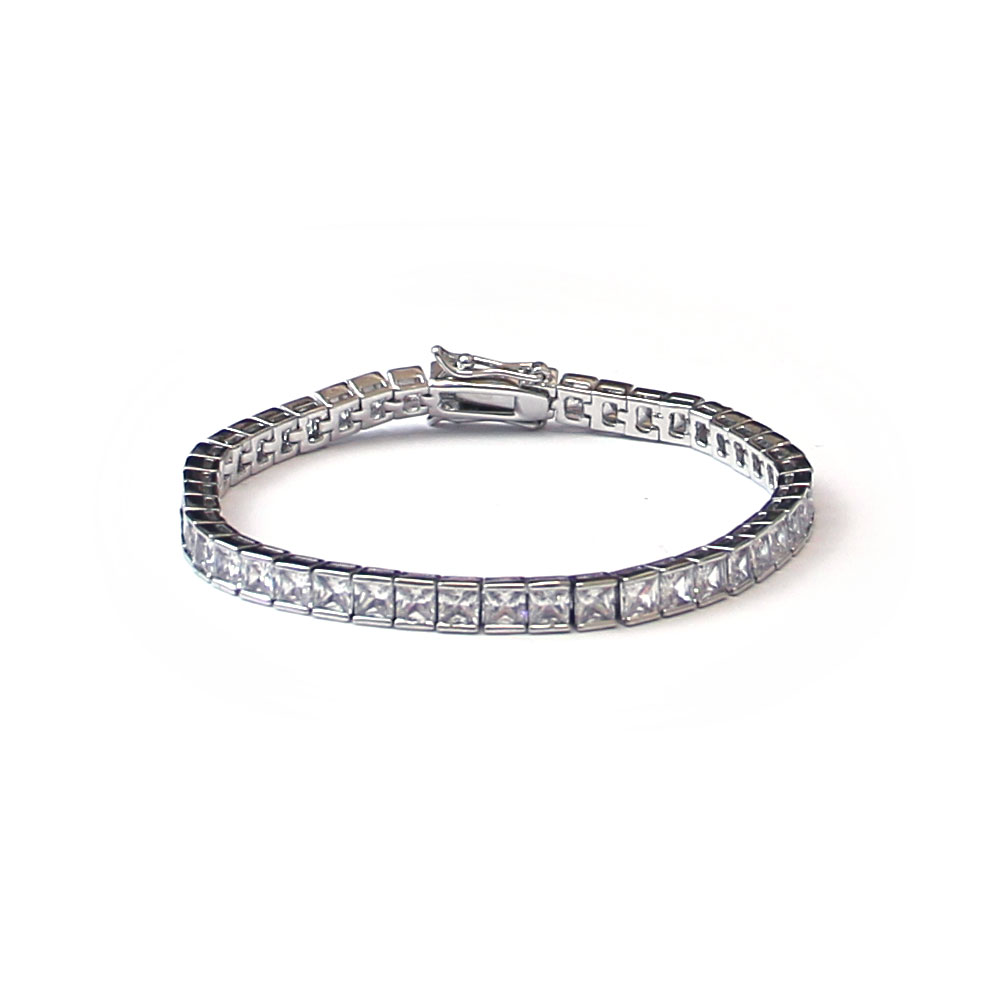 Square Cut CZ Tennis Bracelet in 18k Platinum 7 Inches