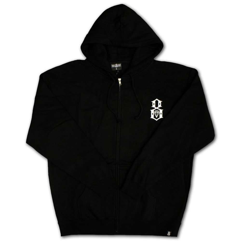Rebel8 Logo Zip Up Hoodie Black