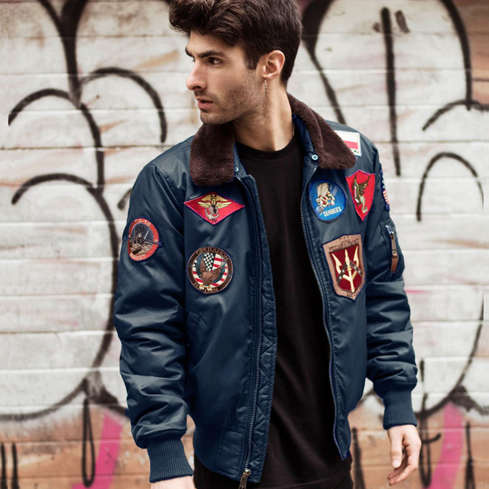 Top Gun Official B-15 Men's Flight Bomber Jacket with Patches Navy