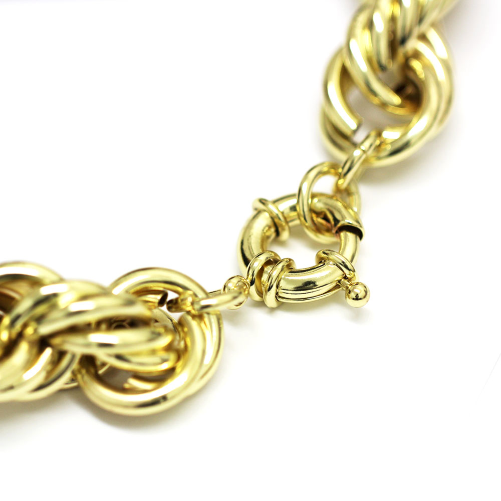 "XL Gold Plated Hip Hop Rope Chain Dookie 20mm x 24"" Hollow High Quality"