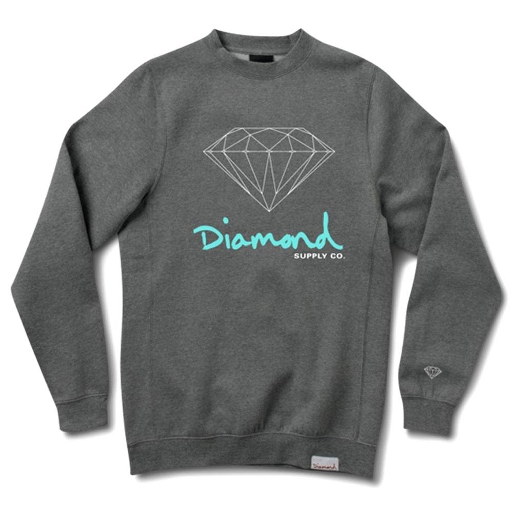 Diamond Supply Co Og Sign Crewneck Charcoal Heather