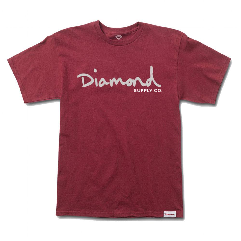 Diamond Supply Co OG Script T-shirt Burgundy