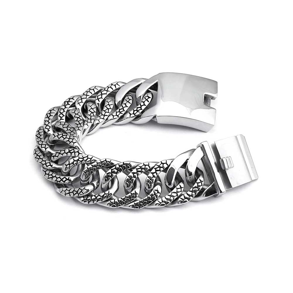 Men's Stainless SteelEmbossed Miami Cuban Curb Link Bracelet