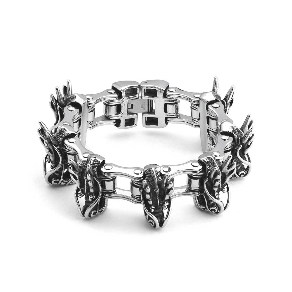 Men's Silver Stainless SteelFlying Skull head Bike Chain Bracelet