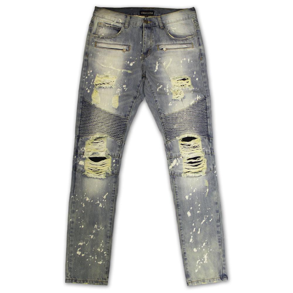 Embellish NYC Maverick Splatter Biker Denim Jeans Stone Wash Bleach Blue